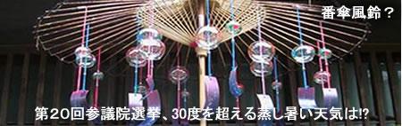 猛暑に番傘風鈴